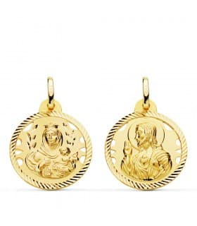 Medalla religiosa escapulario V. Carmen/Corazón de Jesús espiral 20 mm