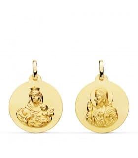 Escapulario Virgen del Carmen y Corazón de Jesús Medalla Oro 18 kilates