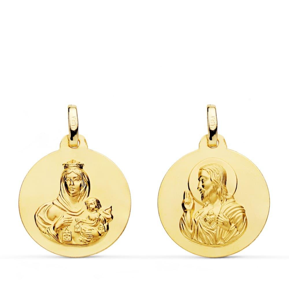 acebfdfa126 Escapulario Virgen del Carmen y Corazón de Jesús Medalla Oro 18 kilates
