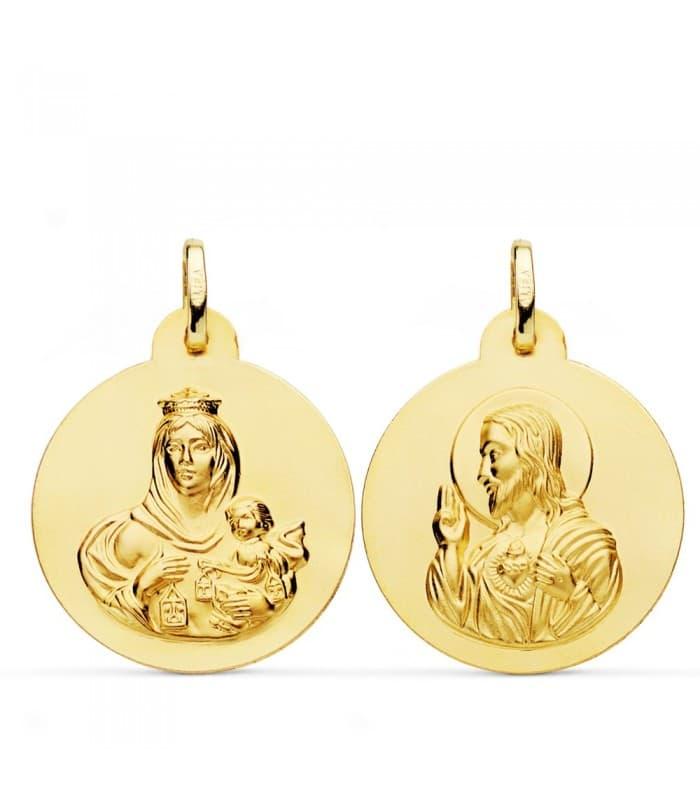 Escapulario Virgen del Carmen y Corazón de Jesús Oro 18k 24 mm medallas religiosas