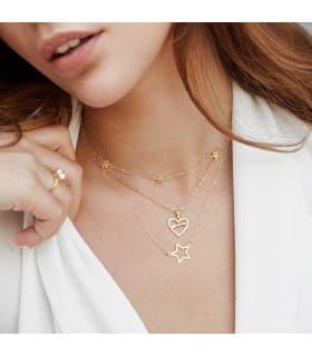 Colgante Love Arrow Oro Amarillo 18K Circonitas Collar Corazón Flecha