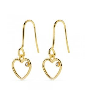 6d92877eb92f Pendientes de Mujer Colgantes Corazón Oro 18 Kilates - Aretes Largos Cierre  Gancho