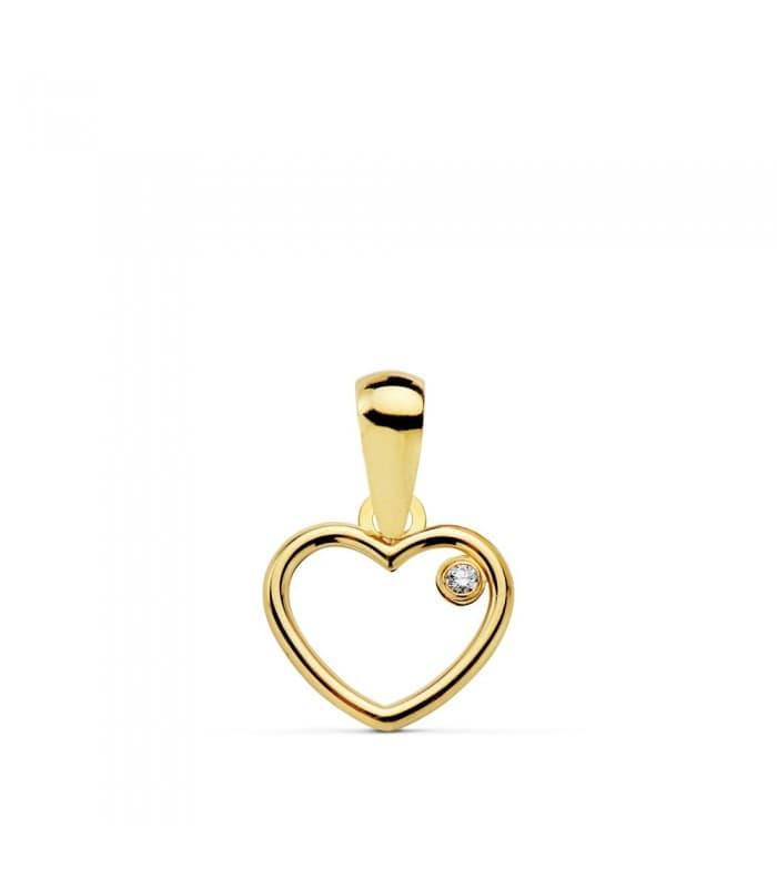 Colgante de Mujer Corazón Oro Amarillo 18 Kilates - Juego joyas Colgante San Valentín Slim Minimal