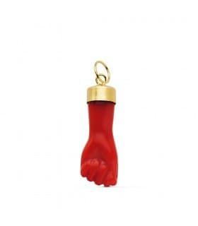 Colgante Oro Amarillo 18 ktes Amuleto Mano Roja (Higa, Figa) 19 mm