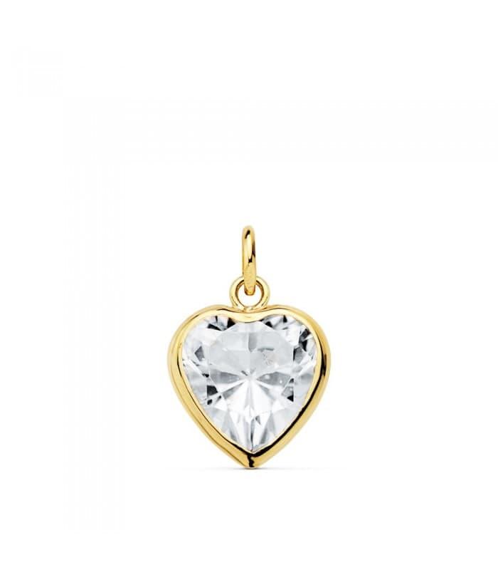 Colgante Corazón Chatón Oro Amarillo 18k 10 mm Charm punto de luz romántico San Valentín