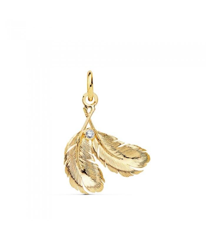 Colgante mujer Plumas Pájaro Oro Amarillo 18 kilates 21mm. Alda Joyeros