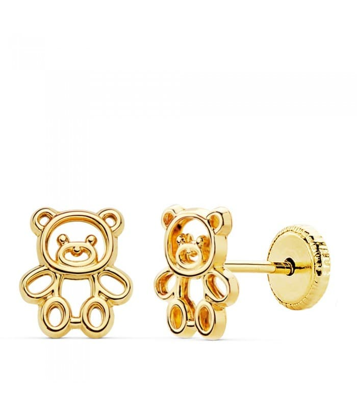 Pendientes Osito Oro Amarillo 18 K 7mm pendientes de niña cierre rosca tornillo oso