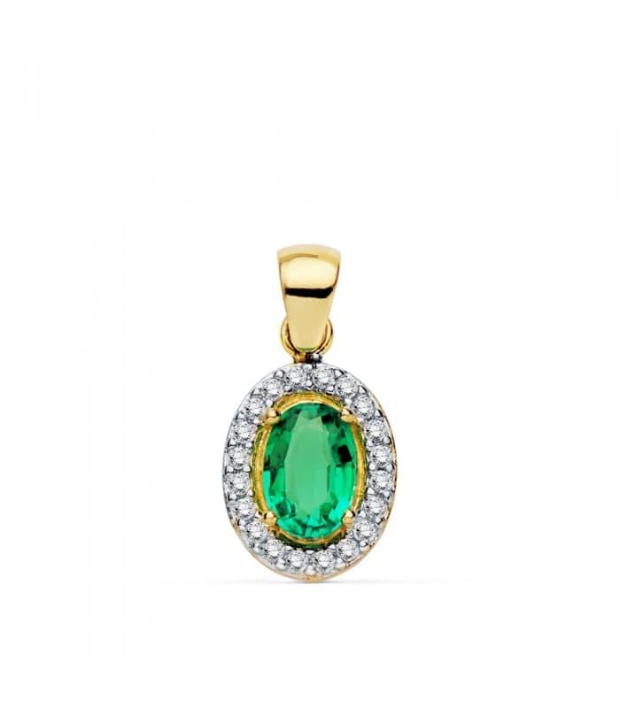 Colgante Esmeralda Oro Bicolor 18 Kilates 10 mm Collar mujer piedra esmeralda verde regalo especial navidad