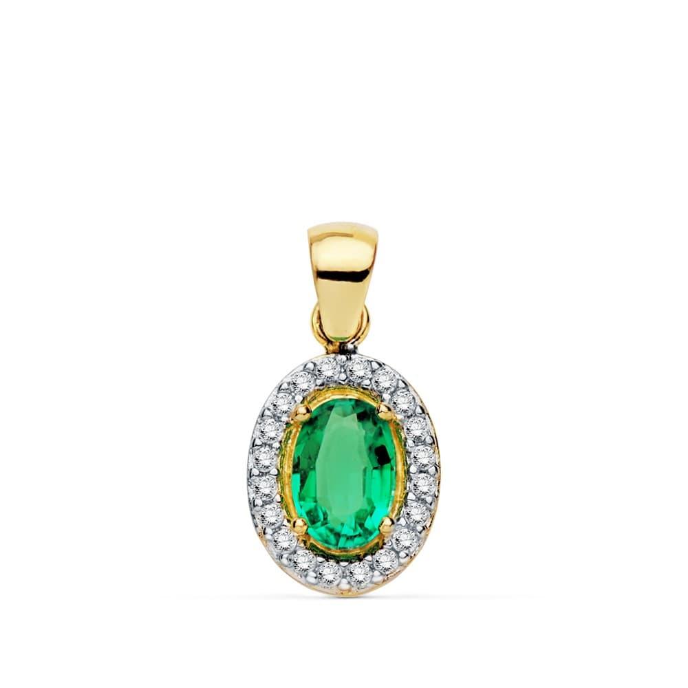 3110045b9551 Colgante Esmeralda Oro Bicolor 18 Kilates 10 mm Collar mujer piedra esmeralda  verde regalo especial navidad