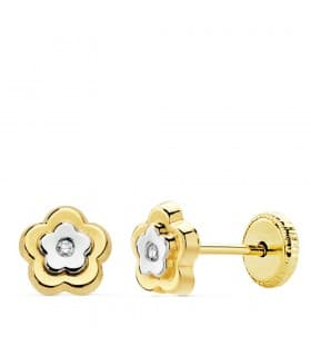 Pendientes Flor Judit Oro Bicolor 18K 6mm