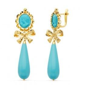 Pendientes Cubanas Lapidados piedra azul Turquesa Samara Oro Amarillo 18K pendientes para mujer largos colgantes flamenca