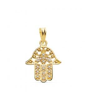 Colgante mujer mano Fatima calada circonitas amuleto fetiche collar hamsa jamsa charm moda