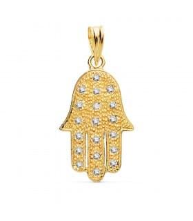 Colgante Mano de Fátima Hamsa Circonitas Oro 18K 22 mm collar amuleto moda regalo madre