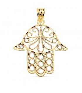 Colgante Mano de Fátima 30 mm Amuleto Hamsa Oro 18 ktes - Alda Joyeros