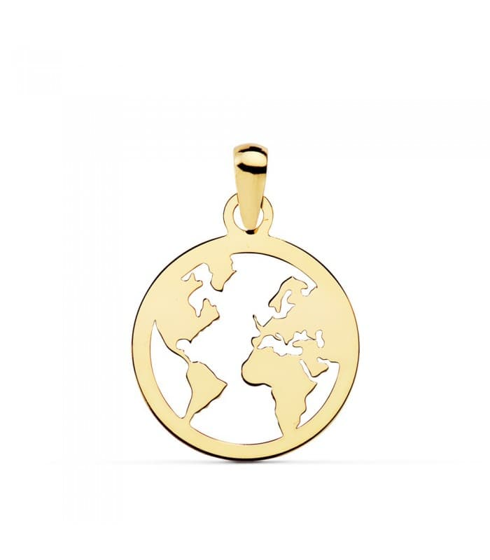 Colgante original Flat World Oro Amarillo 18K 15 mm Collar bola del mundo mapamundi mujer viajes aventuras