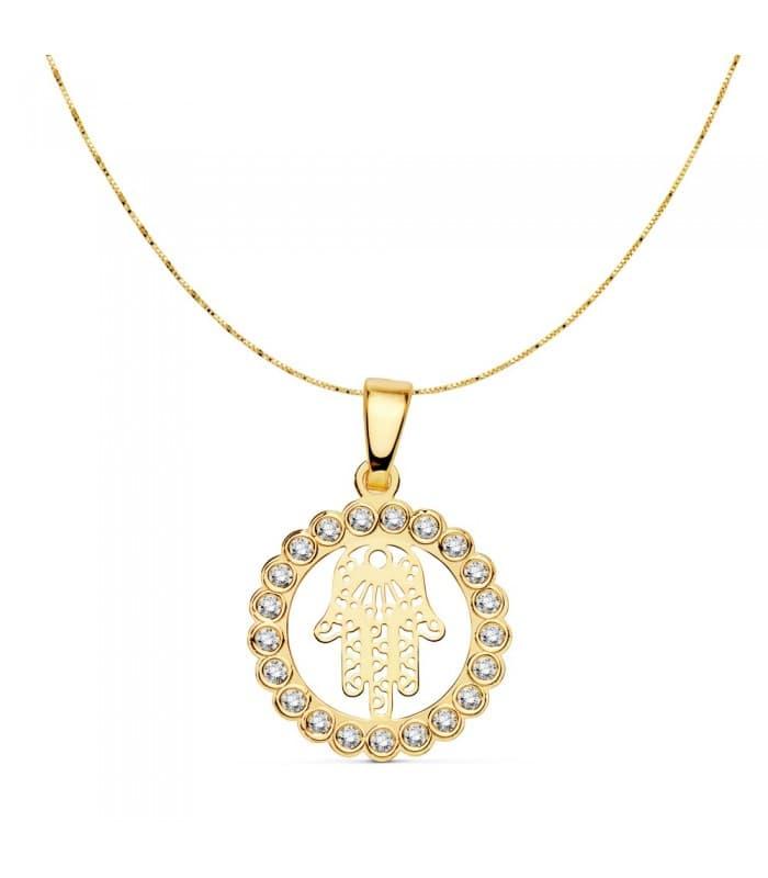 Collar Mano de Fátima 16 mm Cadena fina veneciana elegante. Colgante moderno Amuleto Hamsa Oro 18 Kilates mal de ojo