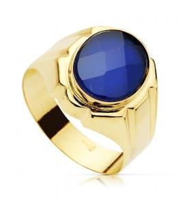 Anillo elegante hombre Sello Caballero Valentino Oro Amarillo 18K piedra Espinela Zafiro Azul joyas boda novios