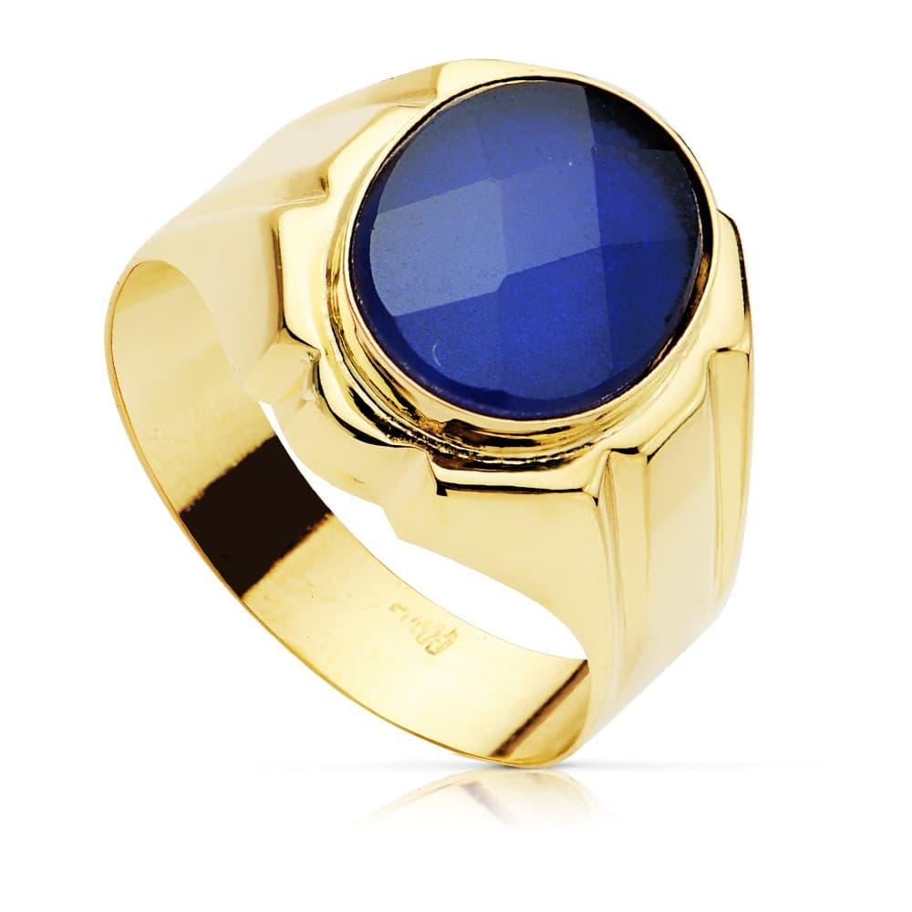 db0d286dd353 Anillo elegante hombre Sello Caballero Valentino Oro Amarillo 18K piedra  Espinela Zafiro Azul joyas boda novios