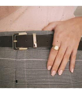 Sello personalizado Oro Amarillo 18K Cuadrado Cadete niño primera comunión anillo sello Mujer moderno