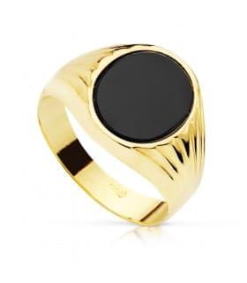 Anillo Sello mujer Piero Oro Amarillo 18 Kilates Piedra Oval Ónix Negro Sello Hombre elegante