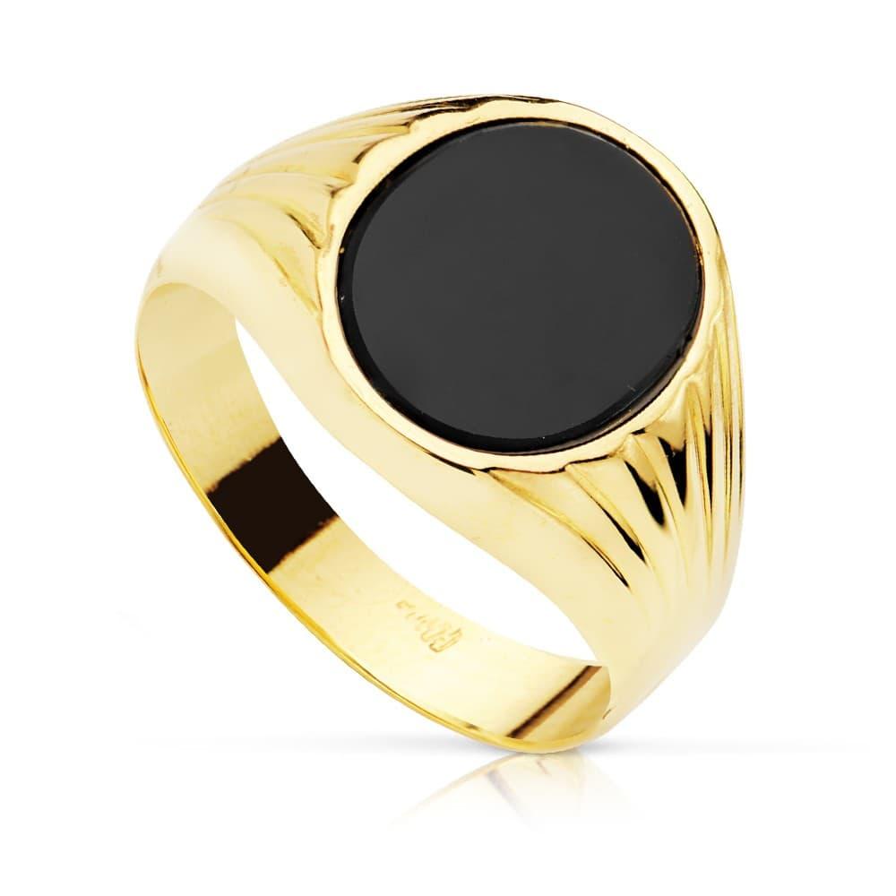 8cefd95d662f Anillo Sello mujer Piero Oro Amarillo 18 Kilates Piedra Oval Ónix Negro  Sello Hombre elegante ...