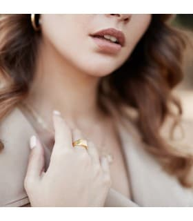 Sello personalizado ÓSCAR Oro Amarillo 18K Cuadrado Cadete niño primera comunión anillo sello Mujer moderno