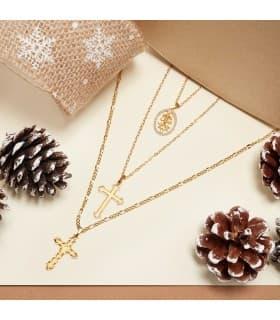 Colgante Moderno Cruz Caravaca Circonitas Oro Amarillo 18 Kilates 18mm joyas cruces y medallas online