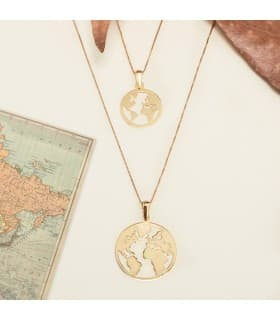 Colgante grande Flat World Oro Amarillo 18K 20 mm - Mapamundi Brillo collar bola del mundo moderno tendencias mujer joyas
