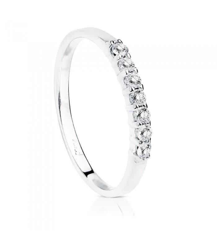 Anillo compromiso Aisha 0.160 Qtes. Oro blanco 18K sortija boda novia