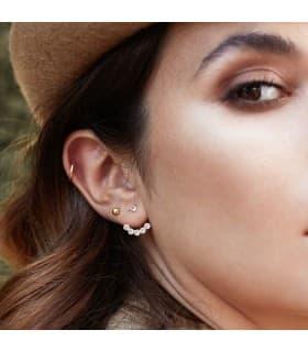 Pendientes de oro Mujer Ear Cuff estrellas brillantes chatón