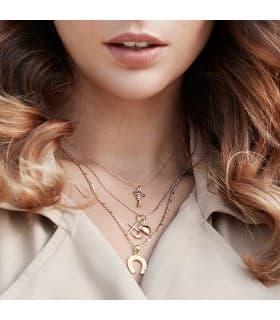 Colgante Tres Virtudes Oro 18K 25 mm fetiches mujer medallas religiosas cruz corazón collar ancla