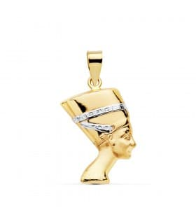 Medalla Colgante Nefertiti Oro bicolor 18 kilates 19 mm Unisex