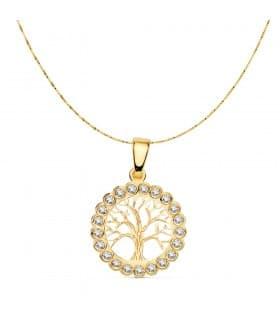 Collar árbol de la vida 16 mm Cadena 42 cm. Colgante Amuleto Oro 18 Kilates