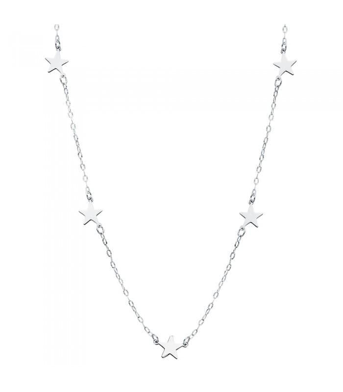 Collar mujer 5 Stars oro blanco 18K 45 cm Gargantilla estrellitas cadena moderna colgante
