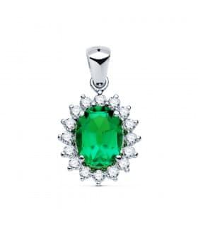 Colgante Galadriel Oro blanco 18K Esmeralda 1.74 Q Diamantes 0.42 Q Joyas para Novia Complementos Alta joyeria