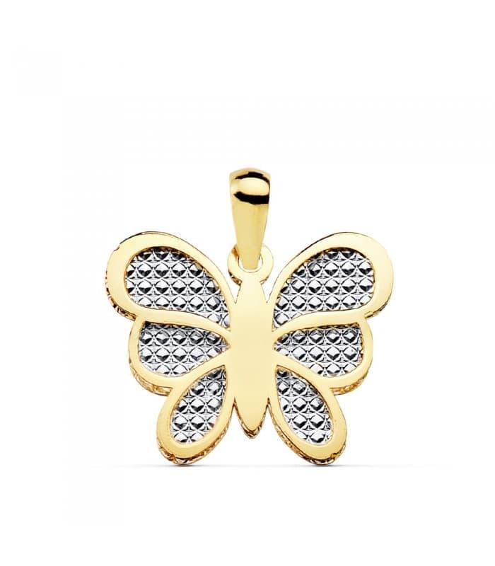 Colgante Mujer Silvia Oro Bicolor 18K Mariposa 17 mm collar mama regalo