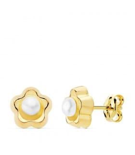Pendientes Niña Flor Perlas Oro Amarillo 18K 8 mm cierre rosca grandes 8 años