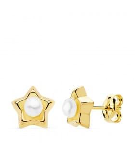 Pendientes Niña Perla Estrellas Oro Amarillo 18K 8 mm cierre presion grandes