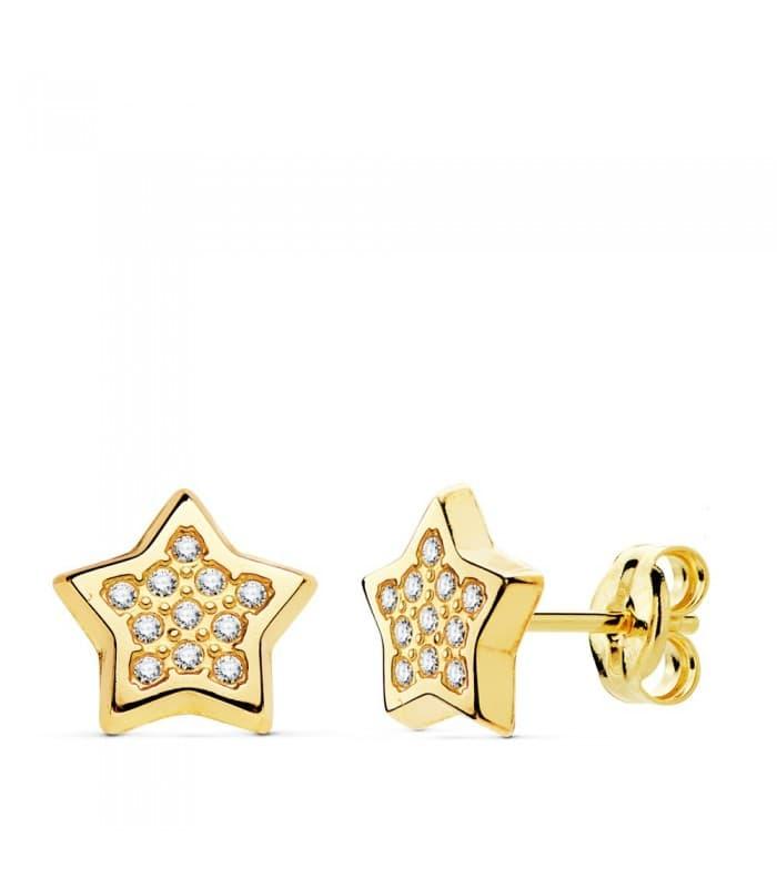 Pendientes modernos Mujer Estrellas Lina Oro Amarillo 18K 9 mm joyeria moda señora