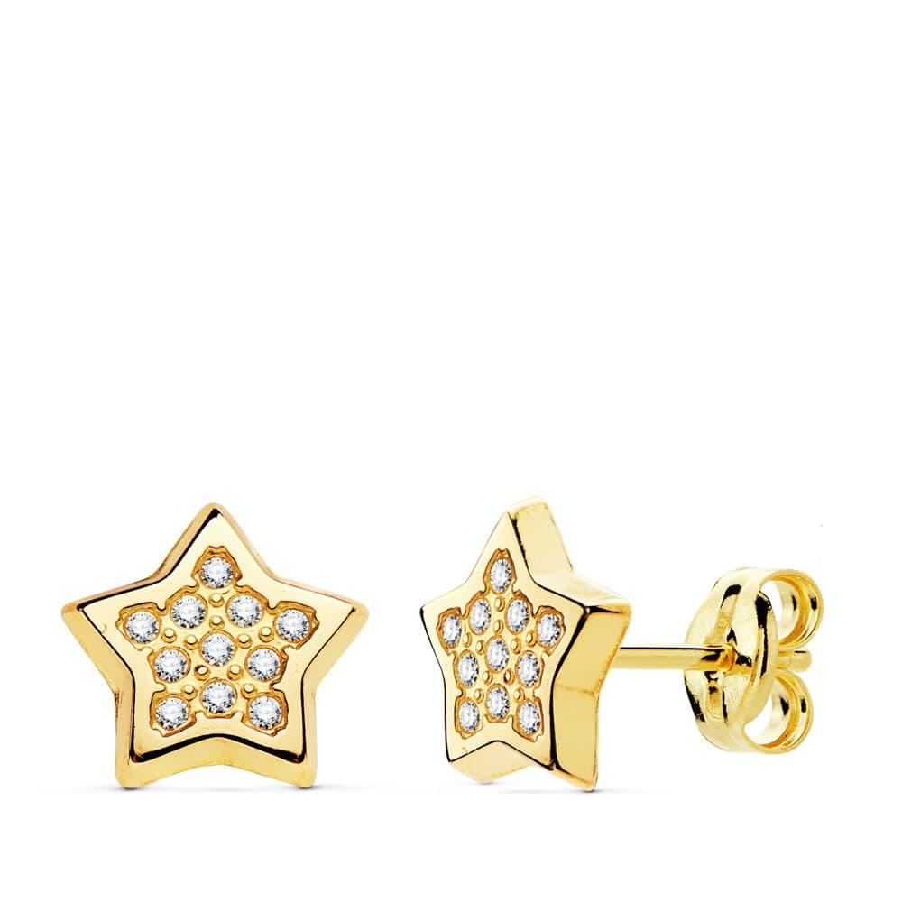ff8a5b92b473 Pendientes modernos Mujer Estrellas Lina Oro Amarillo 18K 9 mm joyeria moda  señora
