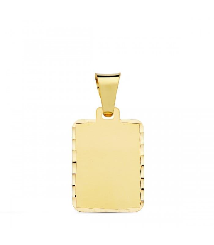 Chapa Tallada Rectangular Oro Amarillo 18 K 20 MM