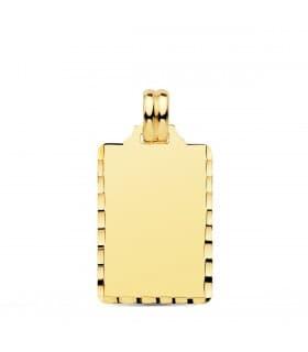 Chapa tallada placa oro 18 KILATES joya personalizada grabado fotografias