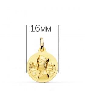 Medalla Virgen de Montserrat 18 Ktes 16 mm joya personalizada medalla religiosa católica grabado