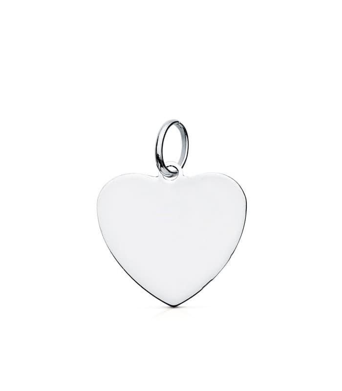 Colgante Chapa Corazón liso Oro Blanco 9K 14 mm