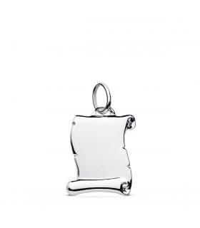Colgante Chapa Pergamino liso Oro Blanco 9K 14 mm joya personalizada barata placa