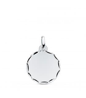 Colgante Chapa Redonda liso Oro Blanco 9K 14 mm grabado joya personalizada san valentin