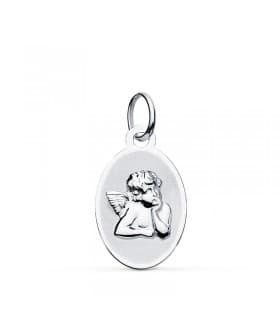 Medalla Ángel Burlón Oro Blanco 9k 17 mm Oval grabado joya personalizada