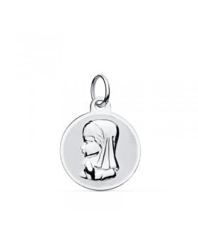 Medalla Oro Blanco 9k Virgen Niña 14 mm Oval grabado regalo joya personalizada