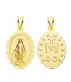 Medalla Virgen Milagrosa Oro Amarillo 18K 28 mm escapulario colgante religioso maria inmaculada concepcion
