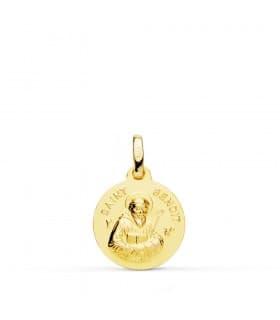 Medalla Saint Benoit Oro 18k 14mm joya personalizada grabado san benito